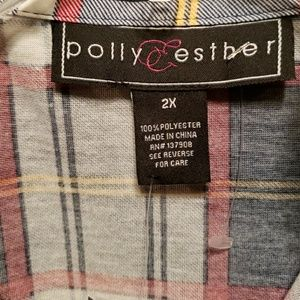 Polly & Esther Tops - NWT Plaid Button Up Shirt Sleeve Camp Shirt
